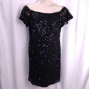 Nightway Sequin Off the Shoulder Cocktail Dress